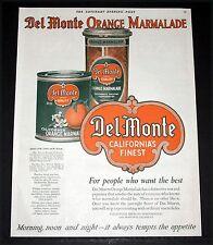 1919 OLD MAGAZINE PRINT AD, DEL MONTE BRAND QUALITY FOODS, ORANGE MARMALADE ART!