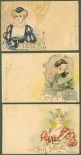 ABEILLE' JACK. Tre cartoline (numeri 22, 26 e 27 della serie). Viaggiate 1901