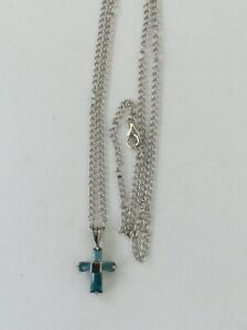 Sterling Silver Long Chain Necklace with Small Cross in Blue Topaz Stone
