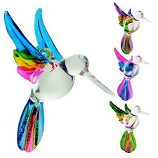 Hummingbird Ornament Crystal Glass Blown Figurine Multi-Colors Clear Body Birds