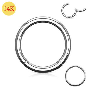 14ct Solid White Gold Classic Hinged Segment Nose Tragus Ring 18G 10mm