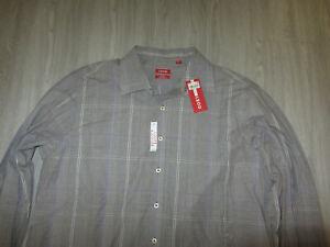 NWT IZOD Slim Fit Coupe Ajustee Coffee Bean Brown Plaid Dress Lounge Shirt XL