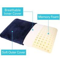 Memory Foam Pillow Lumbar Cushion with Removable Pillow Case Standard, Dark Blue