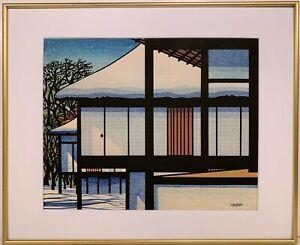 CLIFTON KARHU 20th c. American Japanese WOODBLOCK PRINT Snow at Katsura Rikyu