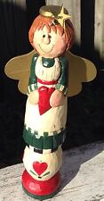 Midwest of Cannon Falls Folk Art Angel Figure Statue Signed Eddie Hearts Stars