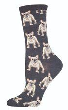 French Bull Dog Socks Ladies Grey Frenchie Secret Santa Gift Socksmith Christmas