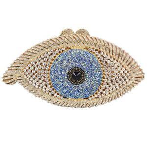 Evil Eye Crystal Designer Purse Women Evening Bag Gold Silver Black Clutch Bag