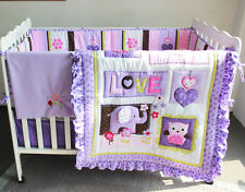 8 Piece Baby Bedding Set Purple Elephant Nursery Quilt Bumper Sheet Crib Skirt 1