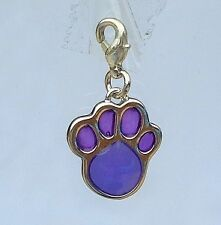 Purple PAW print charm dog collar necklace bracelet tag name pendant jewellery