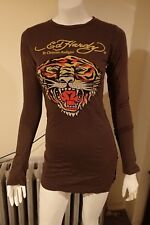 NWT Ed Hardy Tunic Tiger L/S Chocolate Cotton Long M T-Shirt Dress FREE GIFT!!