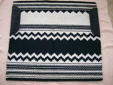 """Harris"" Black & White Wool Western Show Blanket/Pad-Zig Zag Reversible 37"" X 34"