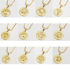 """18k Yellow Gold Filled 12 Horoscope Pendant Necklace 18""""Chain Charms Jewelry"""