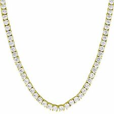 "Tennis Link Solitaire Necklace 1 Row Lab Diamonds 14k Gold Finish Chain 20"" 3mm"