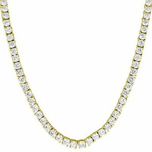 """Solitaire Tennis Link Necklace Cubic Zircon Round Cut Gold Finish 22"""" 3mm Chain"""