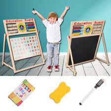 Wooden 2in1 Blackboard Whiteboard Childrens Drawing Art Chalk Board- Kids Easel