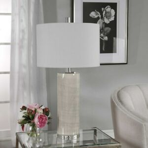CONTEMPORARY CERAMIC TABLE LAMP POLISHED NICKEL METAL CRYSTAL BASE UTTERMOST