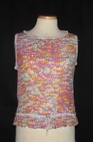St John Sport Multicolor Abstract Print Sheer Self-Tie Peplum Hem Slvless Top L*