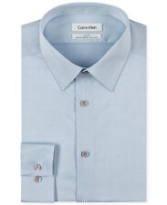$98 CALVIN KLEIN Men SLIM-FIT BLUE LONG-SLEEVE NON-IRON DRESS SHIRT 15.5 32/33 M
