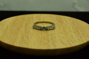 SILVER PLATED BLUE TOPAZ W/ CZ ACCENTS RING BAND SIZE 6.75 #X28813