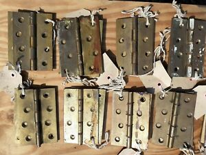 "Quality Vintage Brass 4"" Hinges pairs (2) Old Door Cupboard heavy duty used"