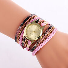 Women's Leopard Wrap Braided Faux Leather Analog Quartz Bracelet Wrist Watch NEW