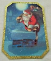 Unused Santa Claus CHRISTMAS Greeting CARD Chimney Snow Gold Glitter Border NOS