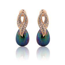 18K Gold filled danglling Sapphire&pearl Popular Jewelry chic earrings!