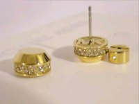 MICHAEL KORS Women's Yellow Gold Tone S/ Steel Crystals Pave Earrings MKJ3270710