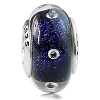 925 sterling silver Midnight Effervescence Murano Glass Bead f European Bracelet