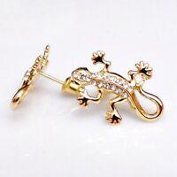 Exzellente Kristall Gecko Gekko Damen Ohrstecker vergoldet 21 x 15 mm