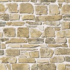 Rasch - Brick Stone Wall Effect - Natural  - Luxury Textured Wallpaper 265606
