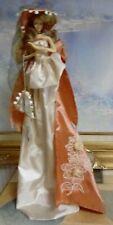 "Doll/Figurine 14"" Including Metal Stand, Umbrella, Hat, 3 Cream/Brown Dress"