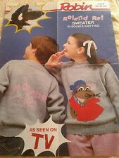KNITTING PATTERN - ROLAND RAT -  CHILDRENS SWEATER - (51-97 cm)  USED CONDITION