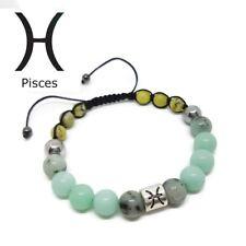 Zodiac Sign PISCES Birthstone Aquamarine, Kiwi Jasper, Turquoise Unisex Bracelet