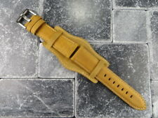 German Military Aviator Watch Strap Army Leather Cuff Watch Band Bund L Brown WX