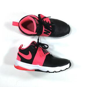 Nike Team Hustle D8 Basketball Shoes Kids Girls Size 5Y Black Pink 881941-002