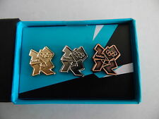 LONDON 2012 OLYMPICS 3 PIN BADGE SET GOLD SILVER BRONZE LOGO