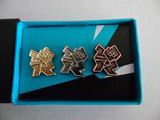 Londres 2012 Jeux Olympiques de 3 Pin Badge Set Or Argent Bronze Logo