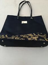 d4afc374e9cd Versace Parfums Black   Gold Baroque Floral Overnight Tote Bag