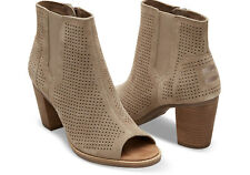 2f7aebec35d TOMS Stucco Suede Perforated Women s Majorca Peep Toe Booties. STYLE   10004983