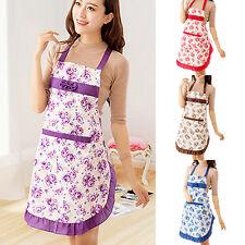 IM- Women Modish Dress Restaurant Kitchen Cooking Cotton Apron Bib Floral Patter