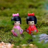 10 Miniature Dollhouse Vase Bonsai Craft Fairy Garden Girl in Kimono Decor
