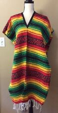 Adult Rasta Striped Economy Mexican Falsa Blanket Poncho Pancho Pullover