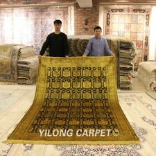 YILONG 6'x9' Hand Knotted Silk Rugs Golden Antique Washed Carpet G02B