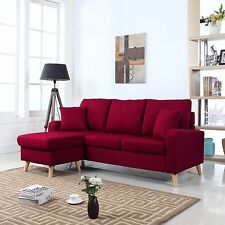 Modern Fabric Small Space Sectional Sofa w/ Reversible Chaise in Red
