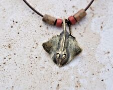 "STING RAY PENDANT Necklace by Big Blue Aquatic Antique Brass 18"" Leather UNISEX"