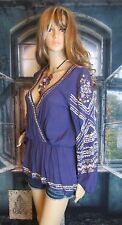 Free People Bohemian Heavy Metal Accented Hippie 100% Rayon Blouse. Sz Med. Cool