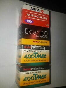 Lot 4 Rolls of Film 135-36 Kodak Professional & Agfacolor 100 Ektar 100 400 Tmax
