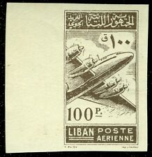 LEBANON : 1953. Scott #C182 Imperforated single. Printed on both sides. Scarce.
