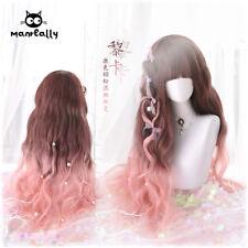 Princess Lolita Brown Pink Gradient Wig Cosplay Long Curly Hair Daily Harajuku #